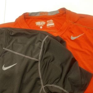Lot of 2 Nike Pro Combat fitted shirts Size Large